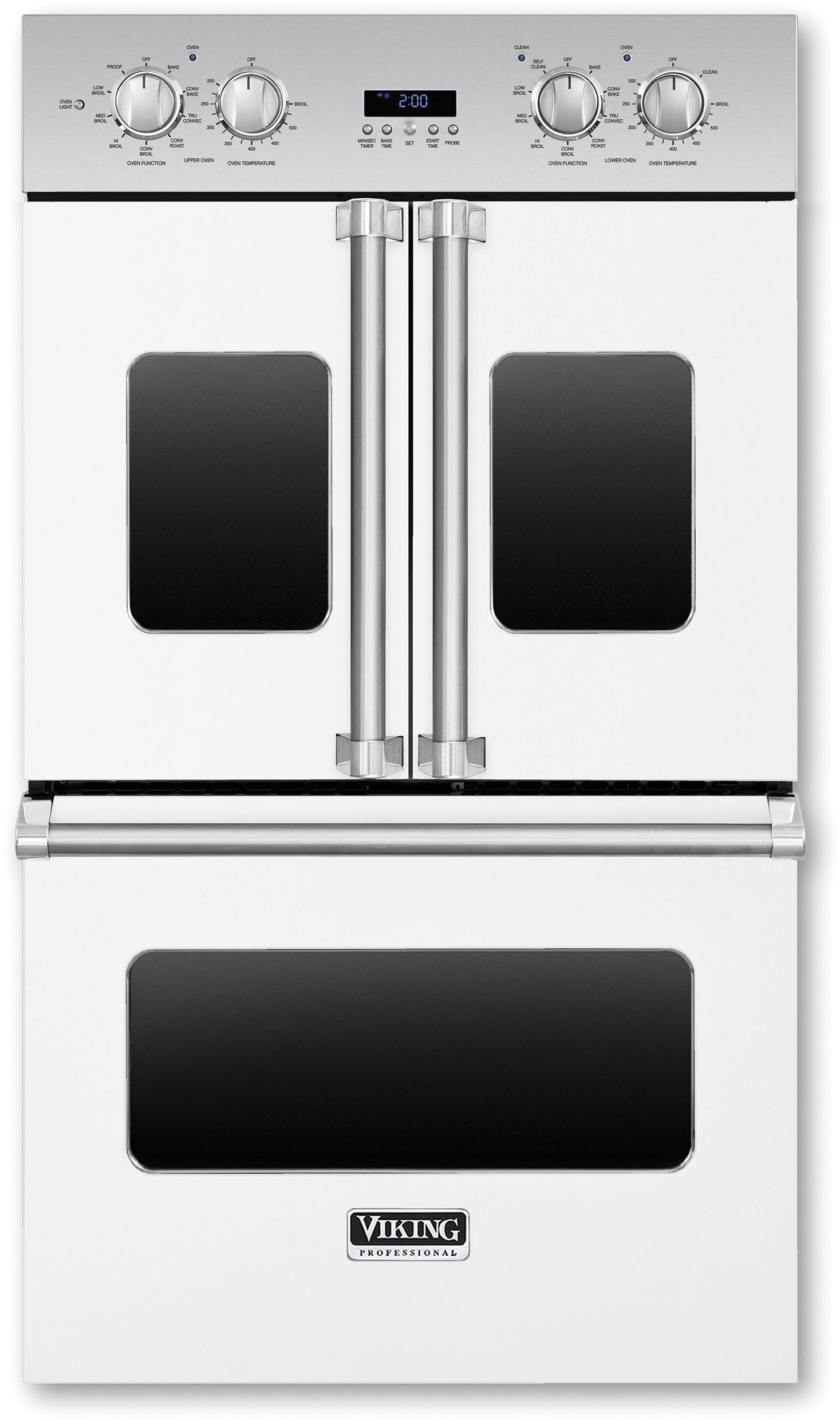 Viking Vdof730wh 30 Inch Double Electric French Door Oven With 4 7 Cu Ft Vari Speed