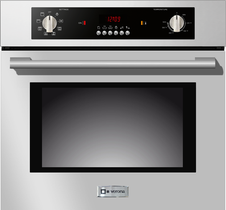 Verona Vebiem241ss 24 Inch Single Electric Wall Oven With 2 0 Cu Ft Capacity 8 Cooking Functions Convection Fan Electronic Controls Stainless Steel Design And Optional Telescopic Gliding Rack