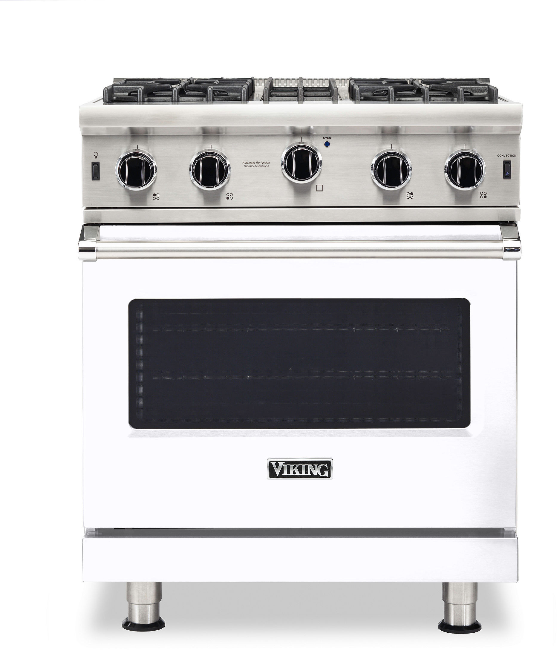 Viking Vgic53024bwh 30 Inch Freestanding Professional Gas Range With 4 Open Burners 4 Cu Ft Oven Capacity Continuous Grates Manual Clean Surespark Ignition System Proflow Convection Air Baffle And Varisimmer Setting White Natural Gas
