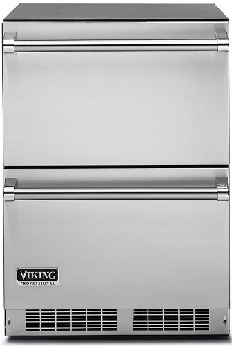 Viking Vdui5240dss 24 Inch Undercounter Refrigerator Drawers With 130 12 Oz Can Capacity Dynamic Cooling Technology For Industry S Best Temperature Stability Efficient White Led Lighting Stainless Steel Construction Door Ajar Alarm And Star K