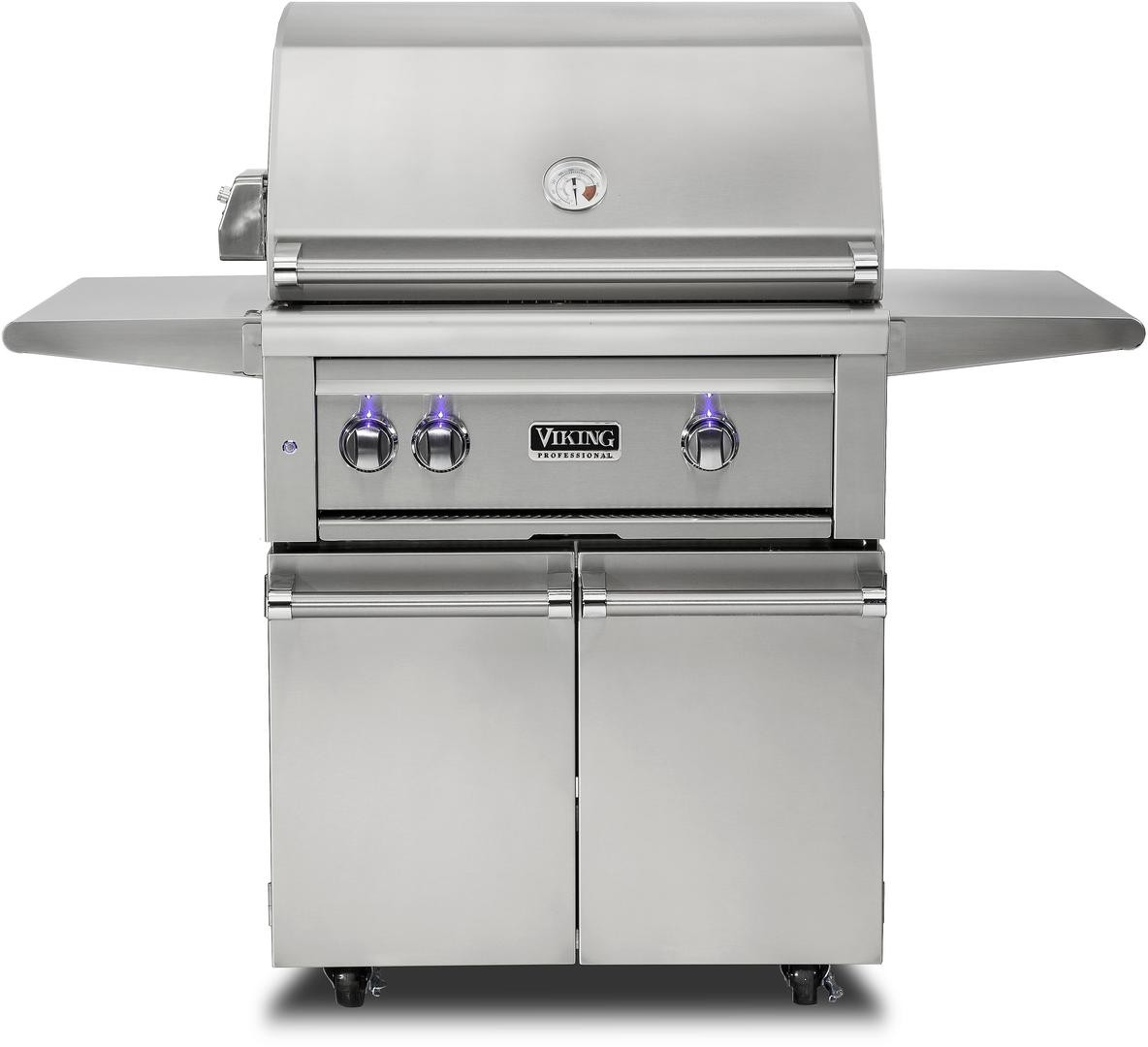 Viking Vqgfs5300nss 30 Inch Freestanding Grill With Prosear 2 Burner Rotisserie Blue Led Knobs Halogen Grill Lights Smoker Box Temperature Gauge Ceramic Briquettes And 840 Sq In Cooking Area Natural Gas
