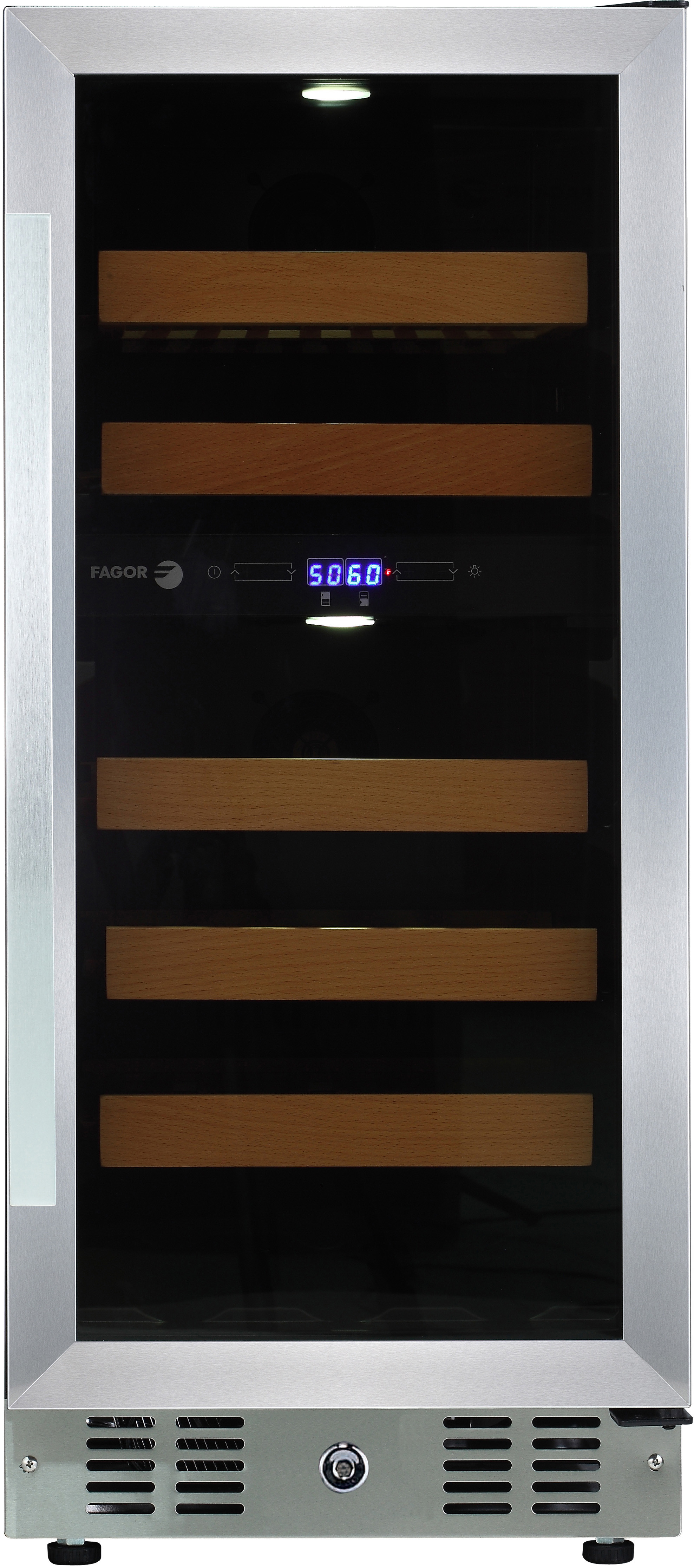 Fagor Wc28dz 15 Inch Tower Wine Cooler With 28 Bottle Capacity 2 Temperature Zones Led Digital Controls 5 Beachwood Wine Racks Reversible Door Vibration Neutralization System And Sabbath Mode