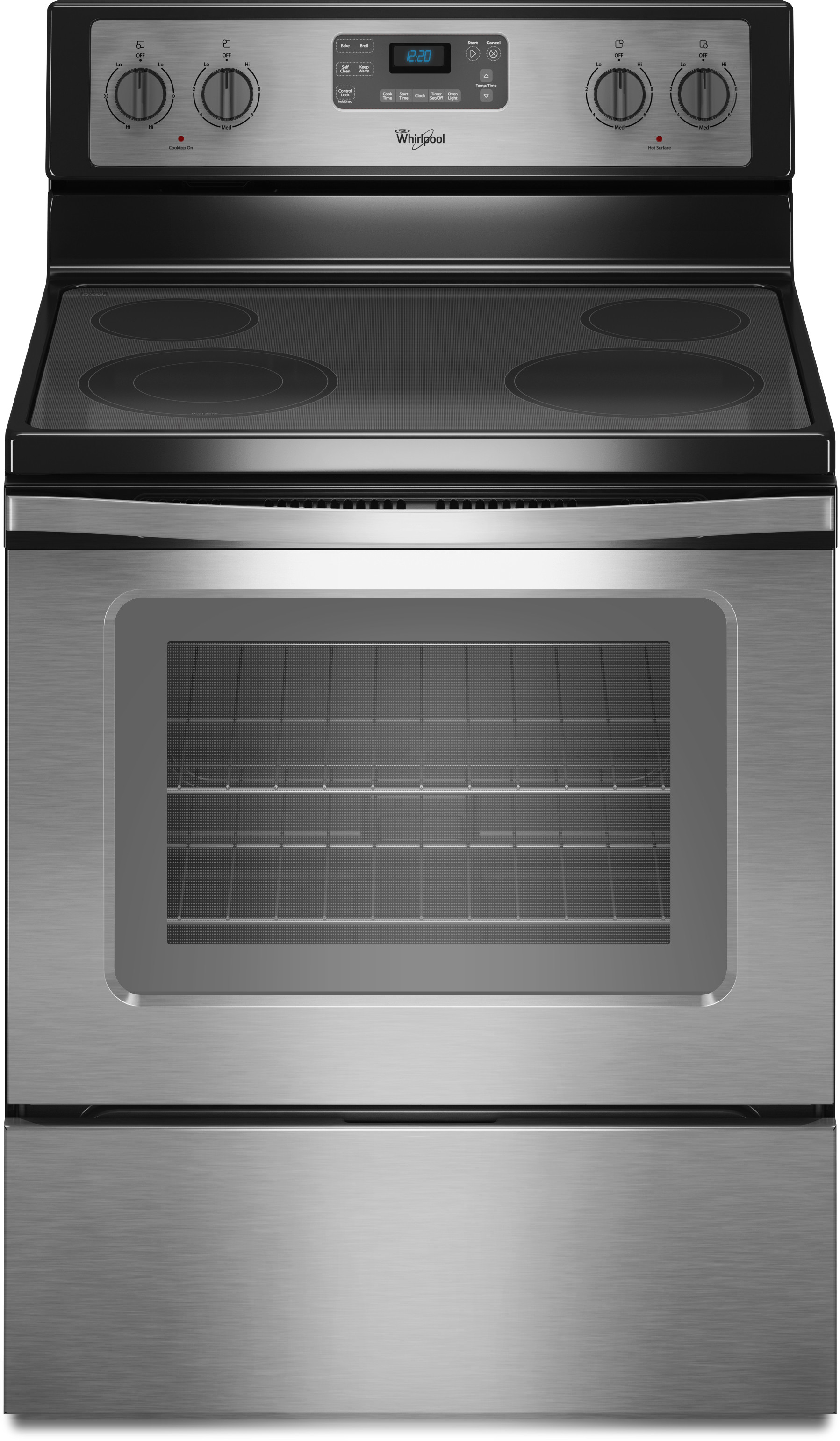 Whirlpool Wfe515s0es 30 Inch Freestanding Electric Range With Accubake Flexheat Steamclean Counter Depth 4 Smoothtop Elements 5 3 Cu Ft