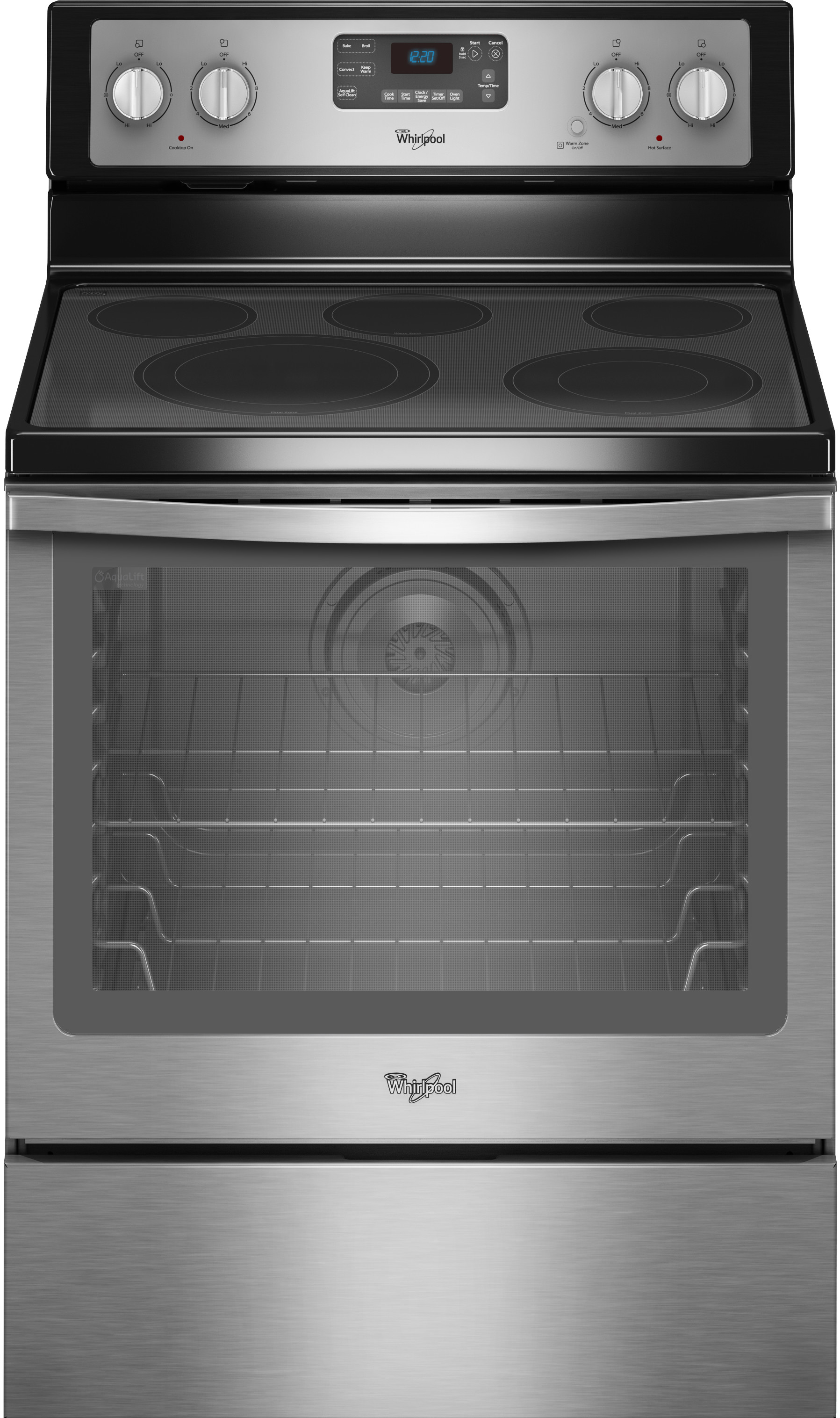 Whirlpool Wfe540h0es 30 Inch Freestanding Electric Range Closeout With Convection Accubake Flexheat Aqualift 5 Smoothtop Elements 6 4 Cu Ft