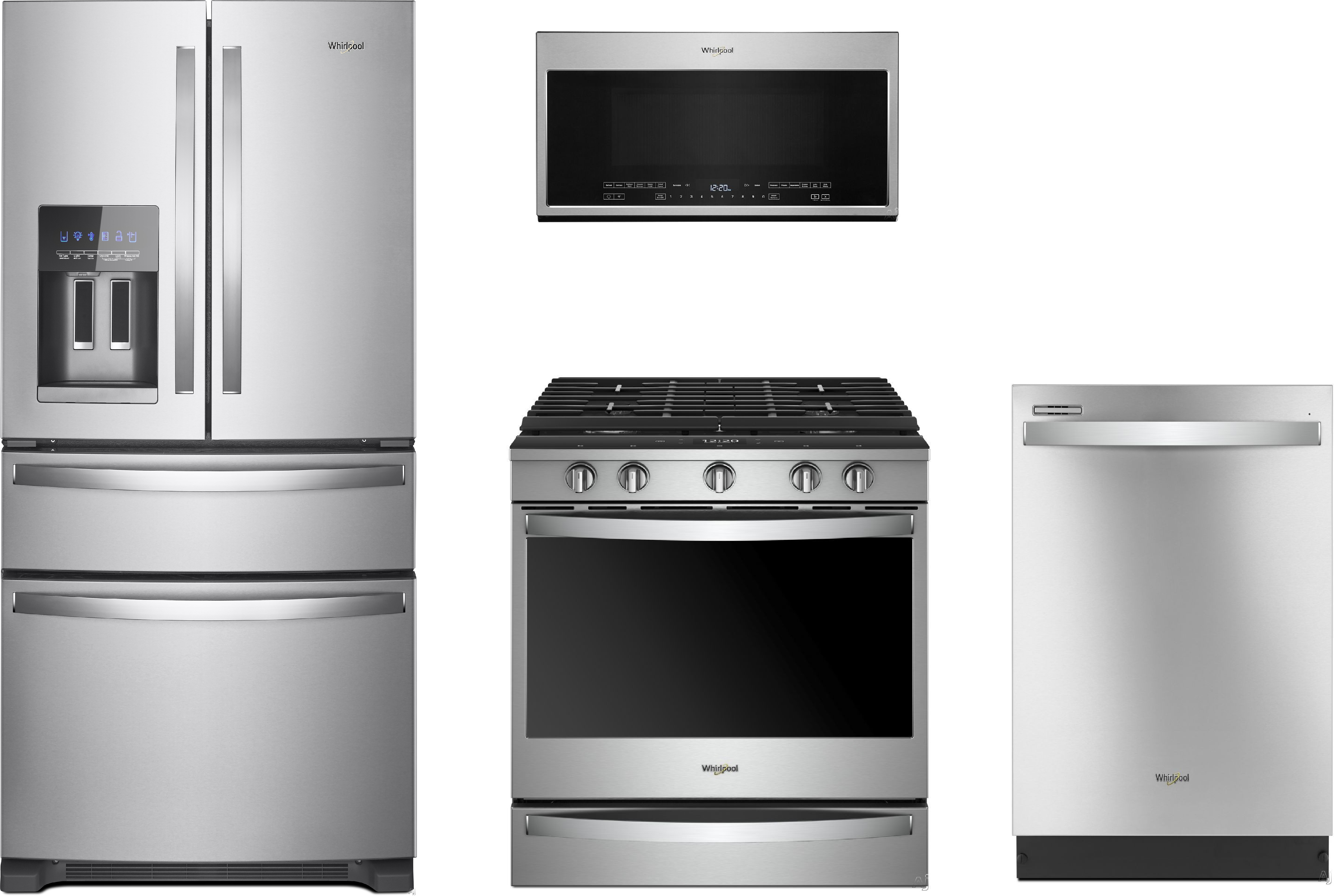 Whirlpool Wpreradwmw3219 4 Piece Kitchen Appliances Package With French Door Refrigerator Gas Range Dishwasher And Over The Range Microwave In Stainless Steel