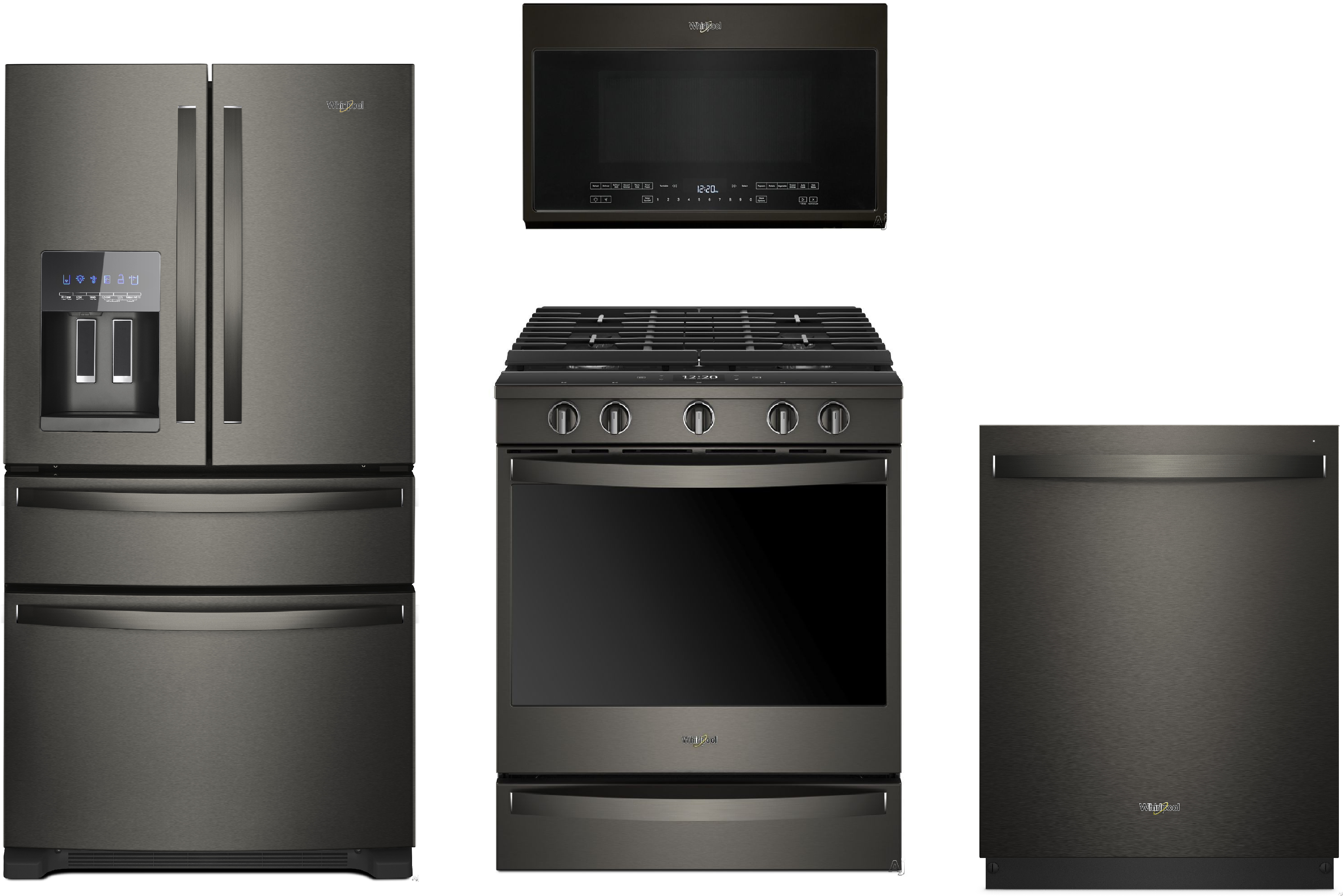 Whirlpool Wpreradwmw3220 4 Piece Kitchen Appliances Package With French Door Refrigerator Gas Range Dishwasher And Over The Range Microwave In Black Stainless Steel