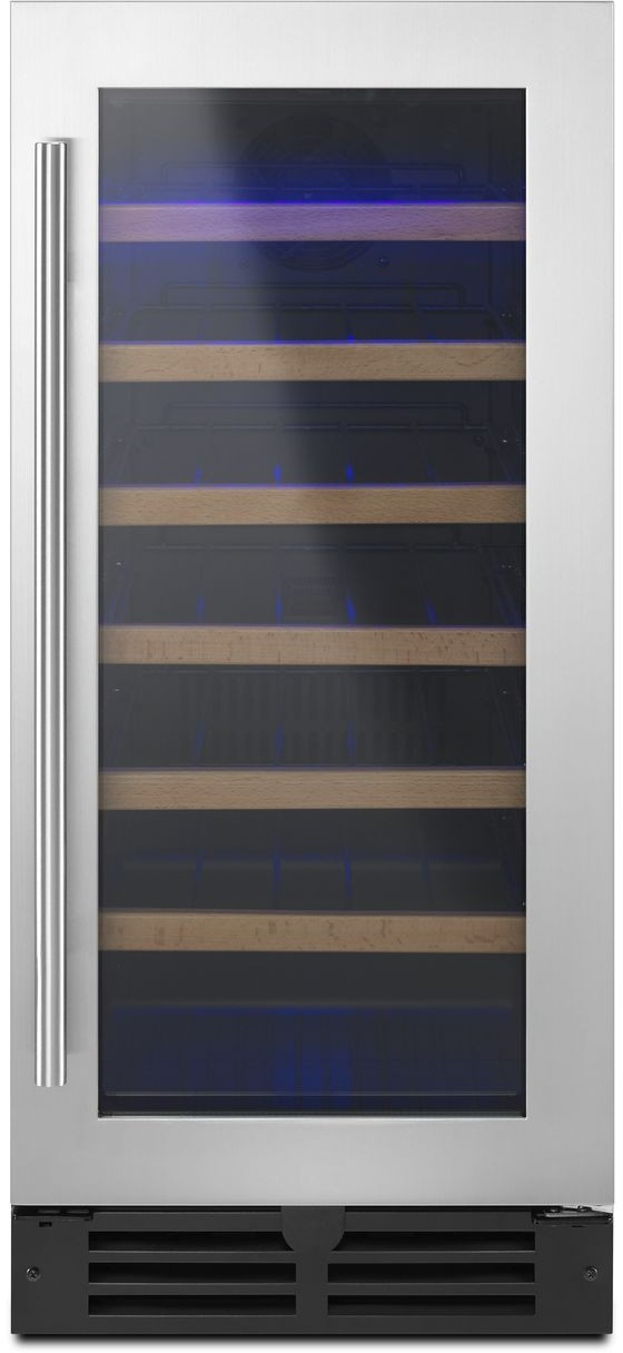 Whirlpool Wuw35x15ds 15 Inch Under Counter Wine Center With 34 Bottle Capacity 6 Wood Fronted Wire Shelves Towel Bar Handle Door Open Alarm And High Temperature Alarm