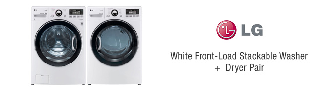 LG White Front-Load Stackable Washer + Dryer Pair