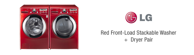 LG Red Front-Load Stackable Washer + Dryer Pair
