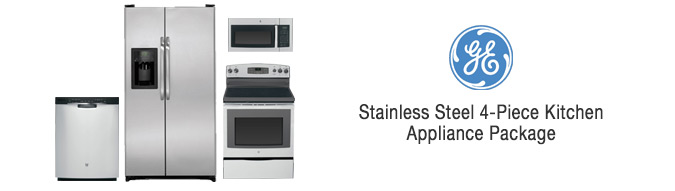 GE Stainless Steel 4-Piece Kitchen Appliance Package