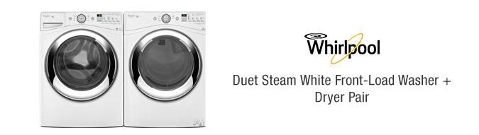 Whirlpool White Duet Steam Front-Load Washer + Dryer Pair