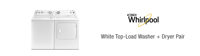 Whirlpool White Top-Load Washer + Dryer Pair
