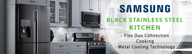 samsung black stainless 4 piece kitchen appliance package