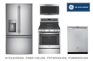 GE Stainless Steel Kitchen Appliance Package with French Door Refrigerator