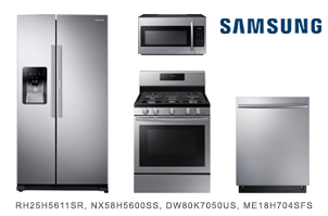 Samsung Stainless Steel Kitchen Package with Side by Side Refrigerator