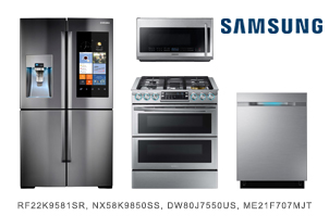 Samsung Family Hub Stainless Steel Kitchen Appliance Package